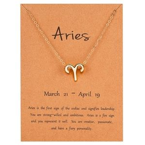 ARIES Gold Charm Necklace - New